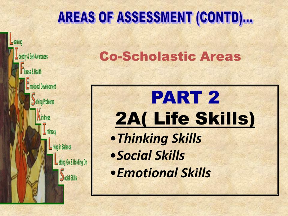 Co-Scholastic Areas PART 2 2A( Life Skills) Thinking Skills Social Skills Emotional Skills