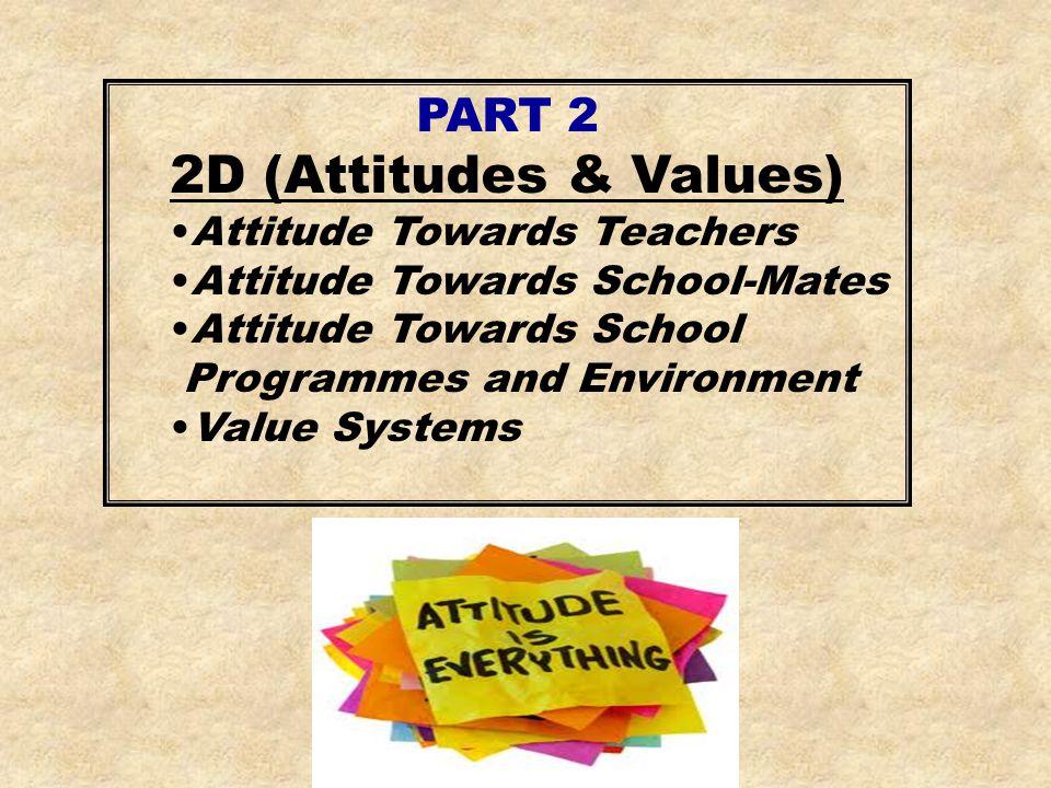 PART 2 2D (Attitudes & Values) Attitude Towards Teachers Attitude Towards School-Mates Attitude Towards School Programmes and Environment Value System