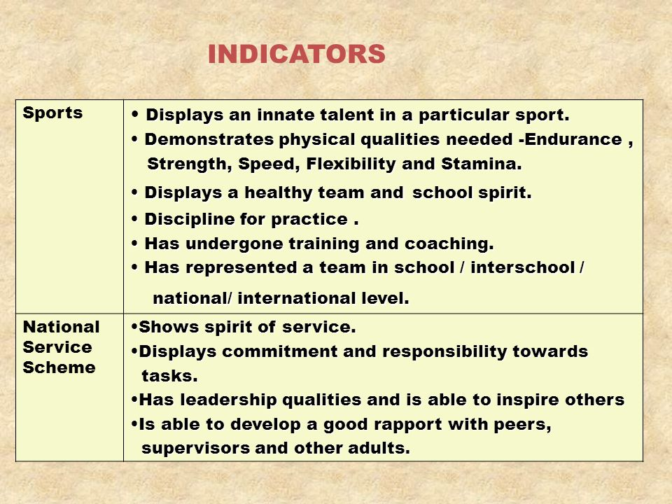 INDICATORS Sports Displays an innate talent in a particular sport. Demonstrates physical qualities needed -Endurance, Demonstrates physical qualities