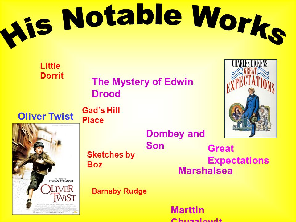 Oliver Twist Great Expectations Little Dorrit The Mystery of Edwin Drood Gad's Hill Place Dombey and Son Sketches by Boz Marshalsea Barnaby Rudge Marttin Chuzzlewit