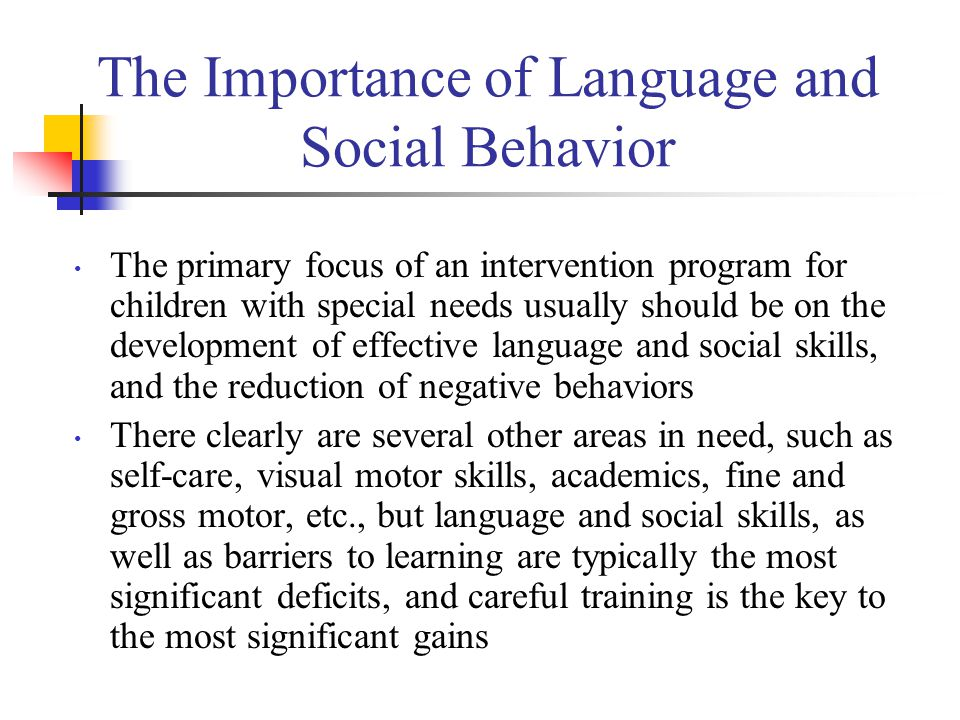 Assessment of an Individual Child's Needs Our first task is to identify the existing skills of each child Our next task is to identify the language, social, behavioral, and learning barriers that are preventing more rapid learning The failure to conduct an appropriate assessment results in one of the biggest problems in programs that serve children with autism: An inappropriate curriculum We need a tool that is easy to use and will provide teachers, parents, and staff with the necessary information to develop an appropriate intervention program