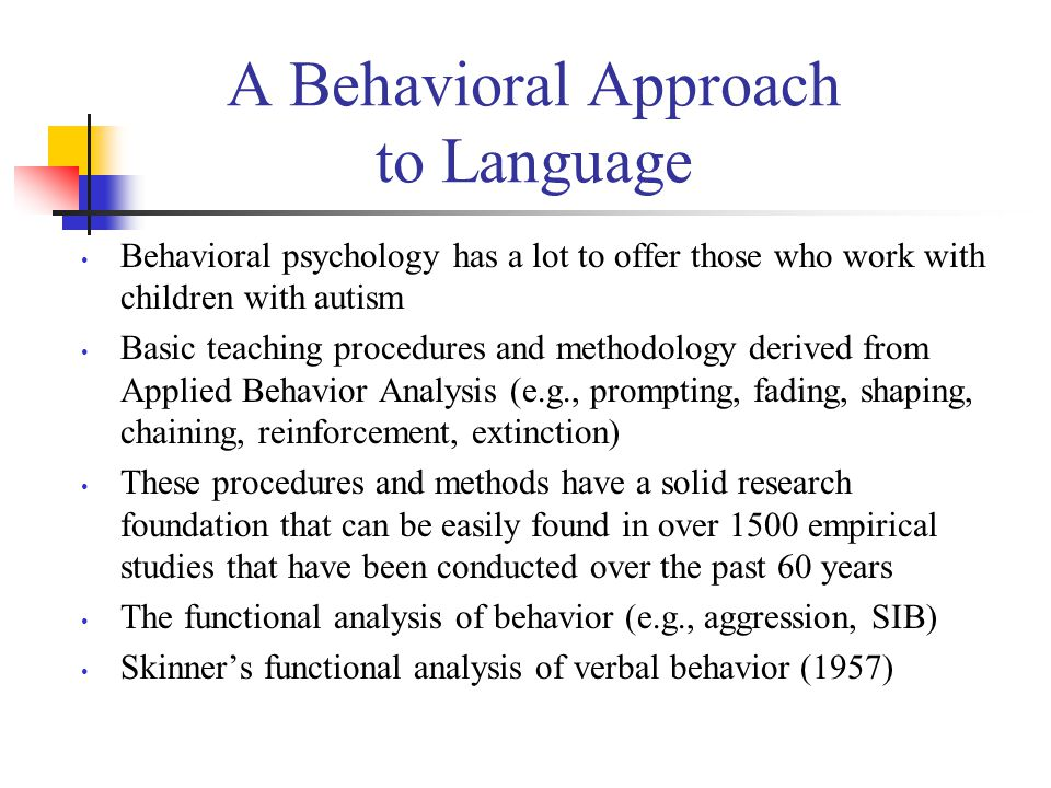 Major Components of a Behaviorally Based Intervention Program The procedures and concepts derived from applied behavior analysis (ABA) A language assessment and language curriculum based on Skinner's (1957) analysis of verbal behavior The developmental norms demonstrated by typical children