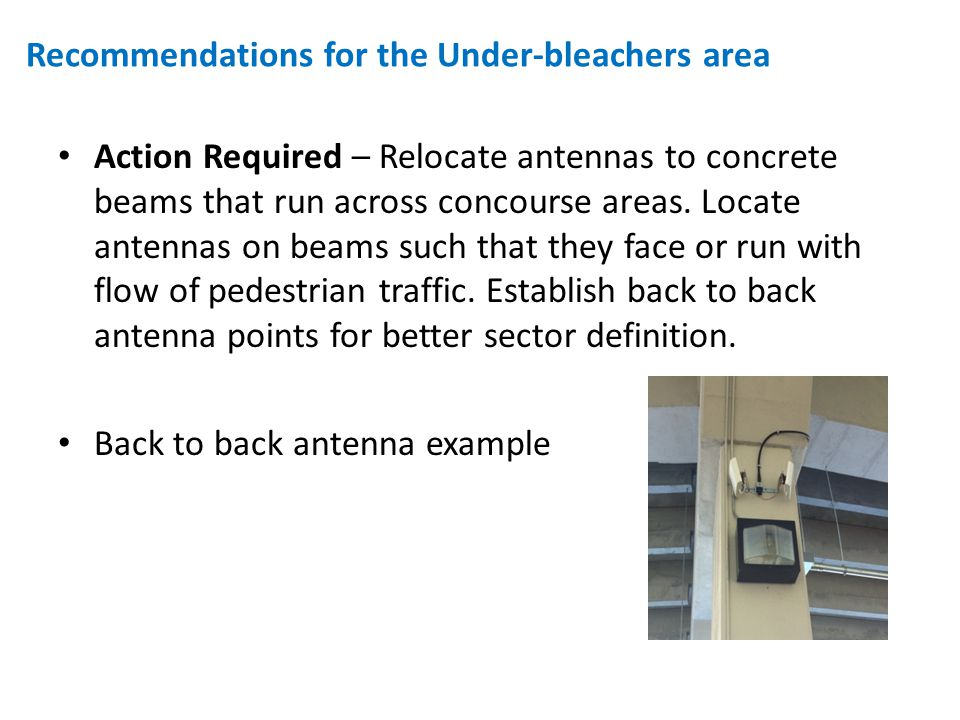 Action Required – Relocate antennas to concrete beams that run across concourse areas.