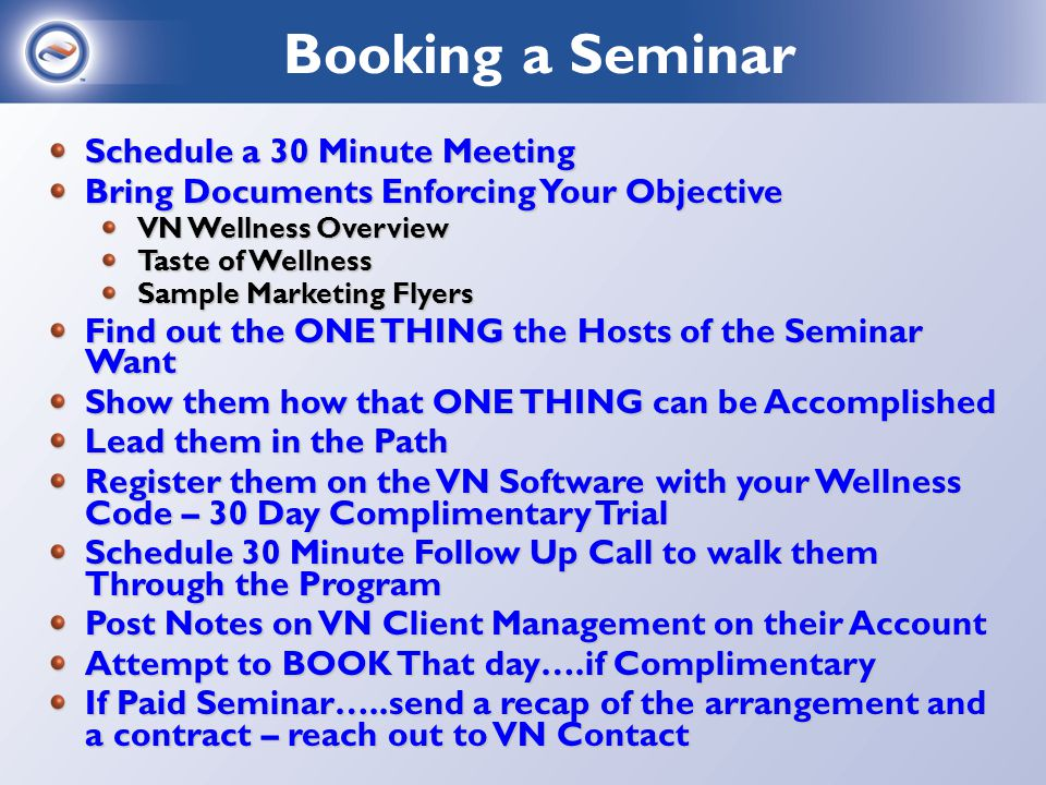 Coordinate with your main contact for the seminar….Your Logistics: Do you need a projector, screen, whiteboard, flip chart.