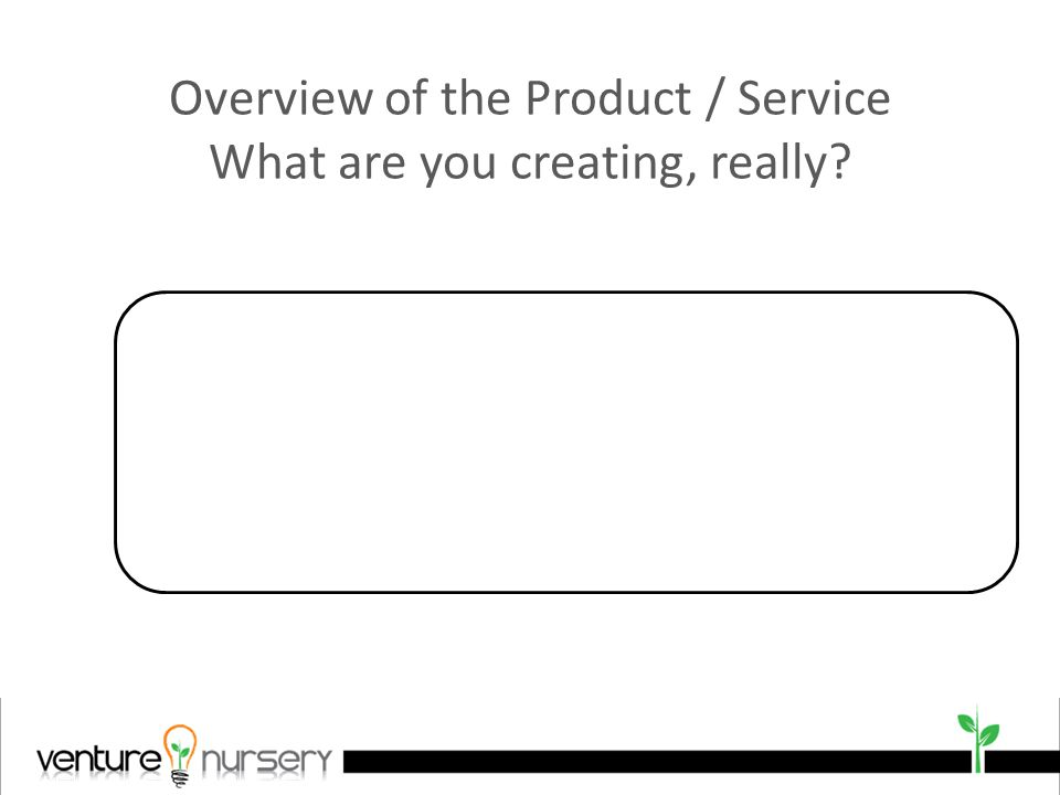 Overview of the Product / Service What are you creating, really