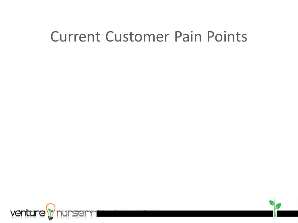 Current Customer Pain Points * Please support your claims with either research, and verifiable secondary evidence or credible expert views.