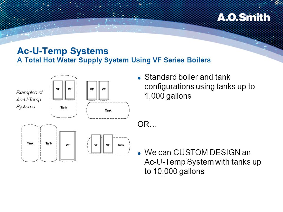Ac-U-Temp Systems A Total Hot Water Supply System Using VF Series Boilers Standard boiler and tank configurations using tanks up to 1,000 gallons OR…