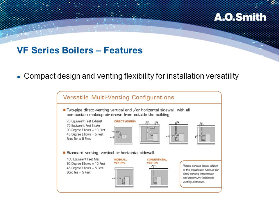 Note: All modes use 4˝ PVC combustion air intake piping and 6˝ AL29-4C venting material Sidewall or Vertical Vent Configurations Using boiler room air for combustion and venting either vertical or horizontal is ideal for retrofit and cost-saving installations