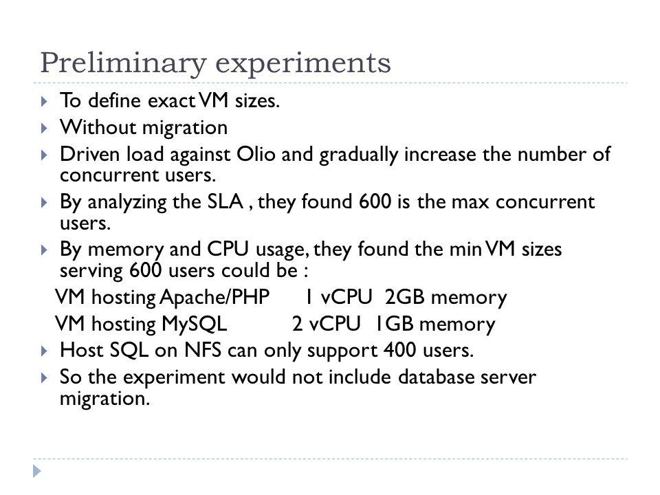 Preliminary experiments  To define exact VM sizes.