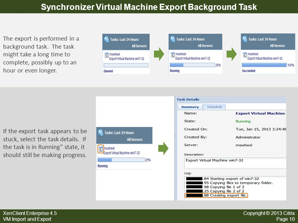 XenClient Enterprise 4.5 VM Import and Export Copyright © 2013 Citrix Page 10 Synchronizer Virtual Machine Export Background Task The export is perfor