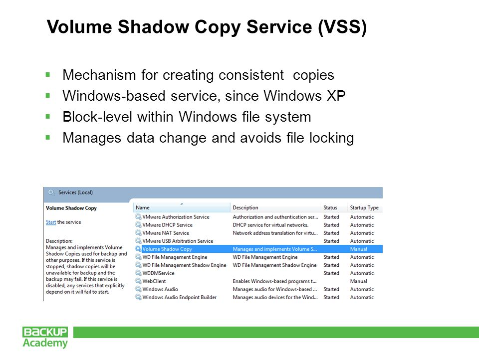 Volume Shadow Copy Service (VSS)  Mechanism for creating consistent copies  Windows-based service, since Windows XP  Block-level within Windows file system  Manages data change and avoids file locking