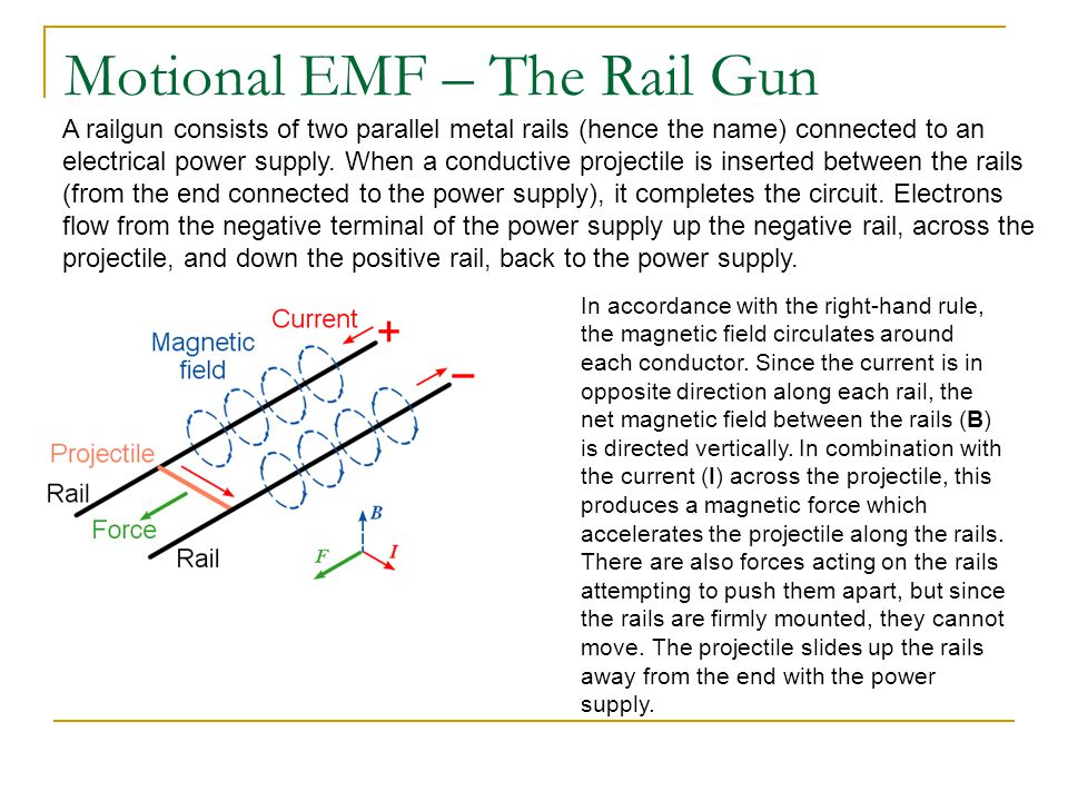 Motional EMF – The Rail Gun A railgun consists of two parallel metal rails (hence the name) connected to an electrical power supply.