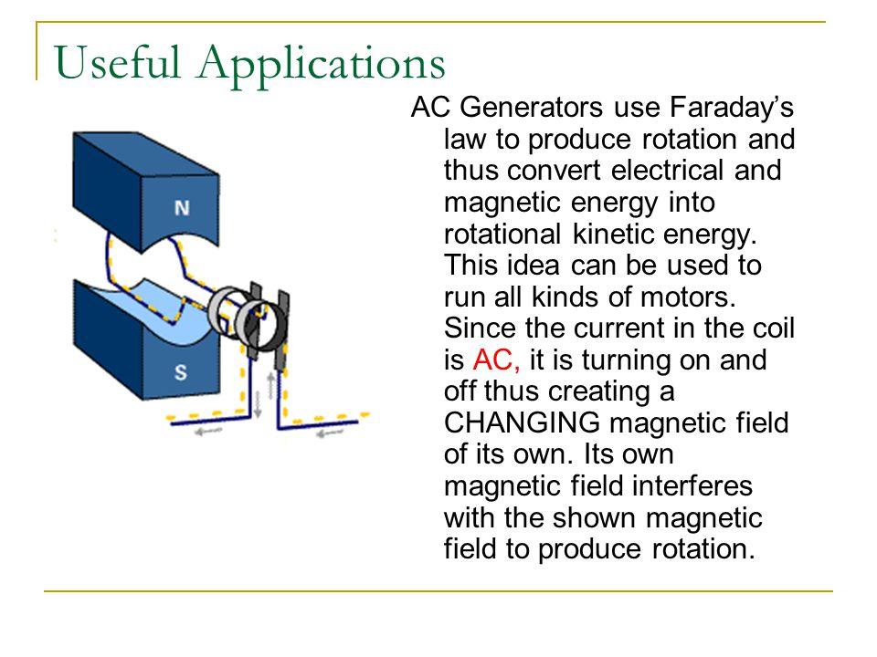 Useful Applications AC Generators use Faraday's law to produce rotation and thus convert electrical and magnetic energy into rotational kinetic energy.