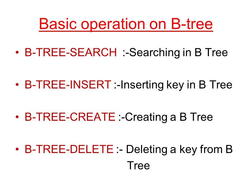 Basic operation on B-tree B-TREE-SEARCH :-Searching in B Tree B-TREE-INSERT :-Inserting key in B Tree B-TREE-CREATE :-Creating a B Tree B-TREE-DELETE