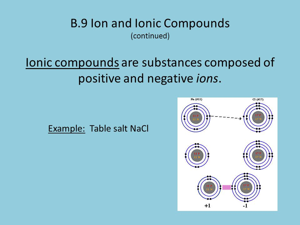 B.9 Ion and Ionic Compounds (continued) Ionic compounds are substances composed of positive and negative ions. Example: Table salt NaCl
