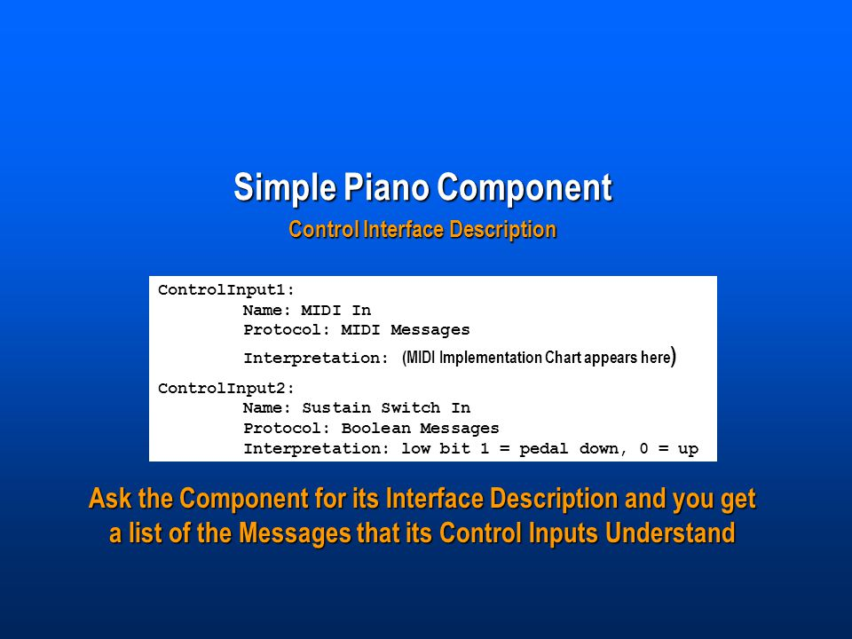 Simple Piano Component Control Interface Description ControlInput1: Name: MIDI In Protocol: MIDI Messages Interpretation: (MIDI Implementation Chart appears here ) ControlInput2: Name: Sustain Switch In Protocol: Boolean Messages Interpretation: low bit 1 = pedal down, 0 = up Ask the Component for its Interface Description and you get a list of the Messages that its Control Inputs Understand