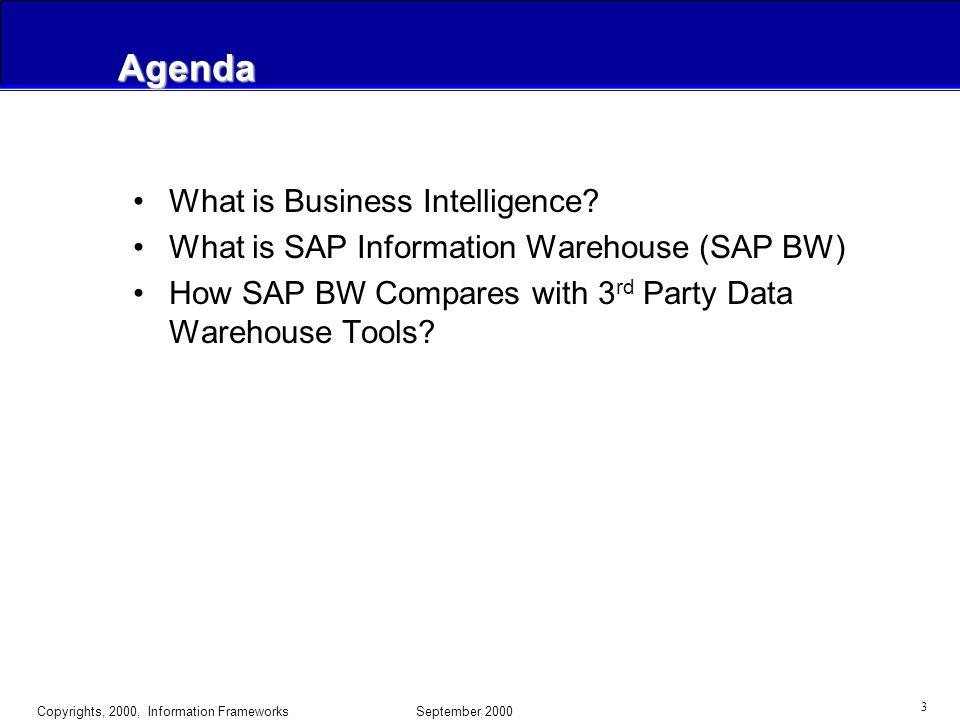 Copyrights, 2000, Information Frameworks September 2000 13 SAP BW - Open Solution - 3rd Party Integration Data Load Data Access