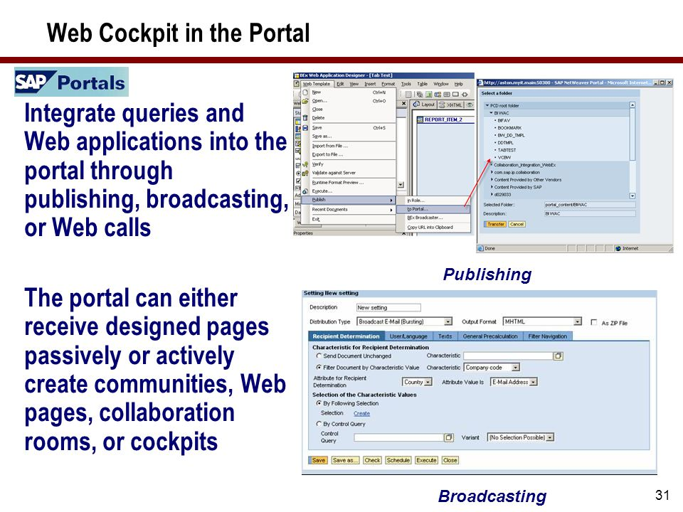 31 Web Cockpit in the Portal Integrate queries and Web applications into the portal through publishing, broadcasting, or Web calls The portal can eith