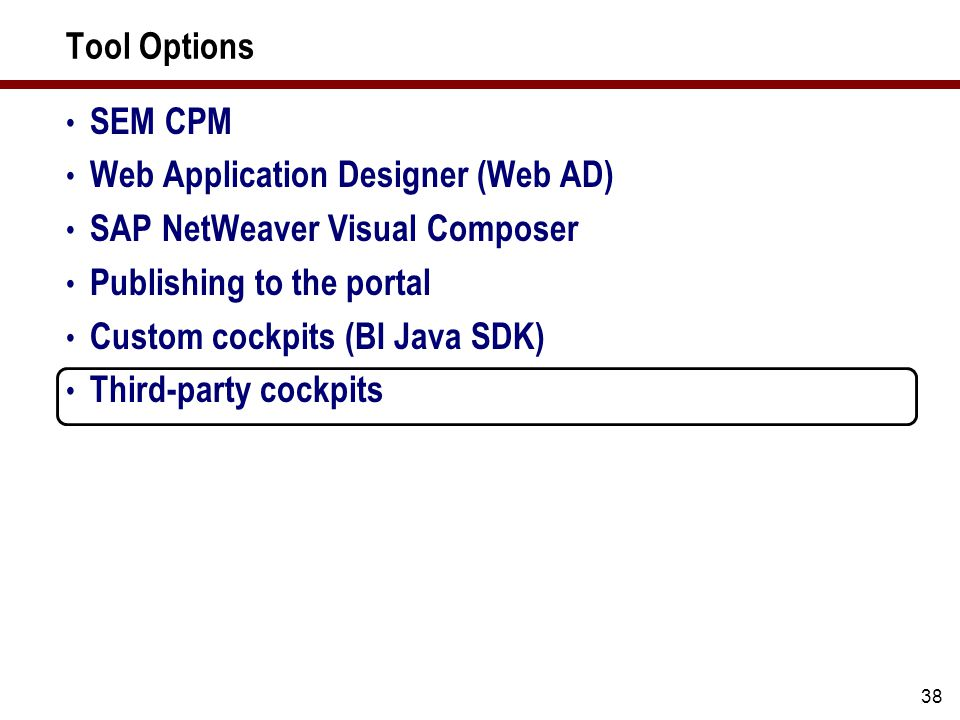 Tool Options SEM CPM Web Application Designer (Web AD) SAP NetWeaver Visual Composer Publishing to the portal Custom cockpits (BI Java SDK) Third-part