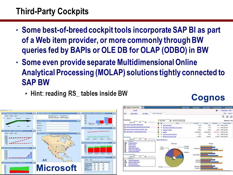 39 Third-Party Cockpits Some best-of-breed cockpit tools incorporate SAP BI as part of a Web item provider, or more commonly through BW queries fed by