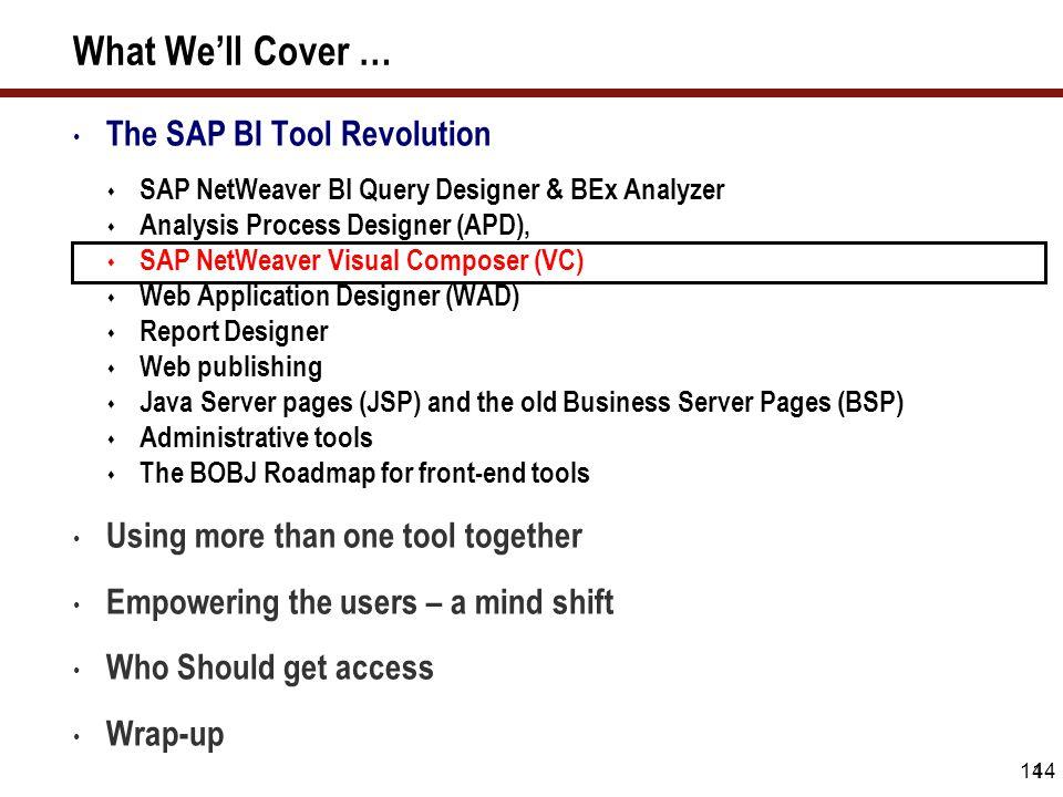 14 What We'll Cover … The SAP BI Tool Revolution  SAP NetWeaver BI Query Designer & BEx Analyzer  Analysis Process Designer (APD),  SAP NetWeaver V