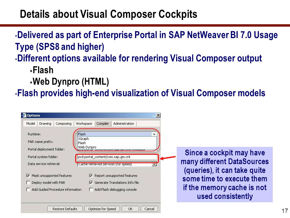 17 Details about Visual Composer Cockpits Delivered as part of Enterprise Portal in SAP NetWeaver BI 7.0 Usage Type (SPS8 and higher) Different option
