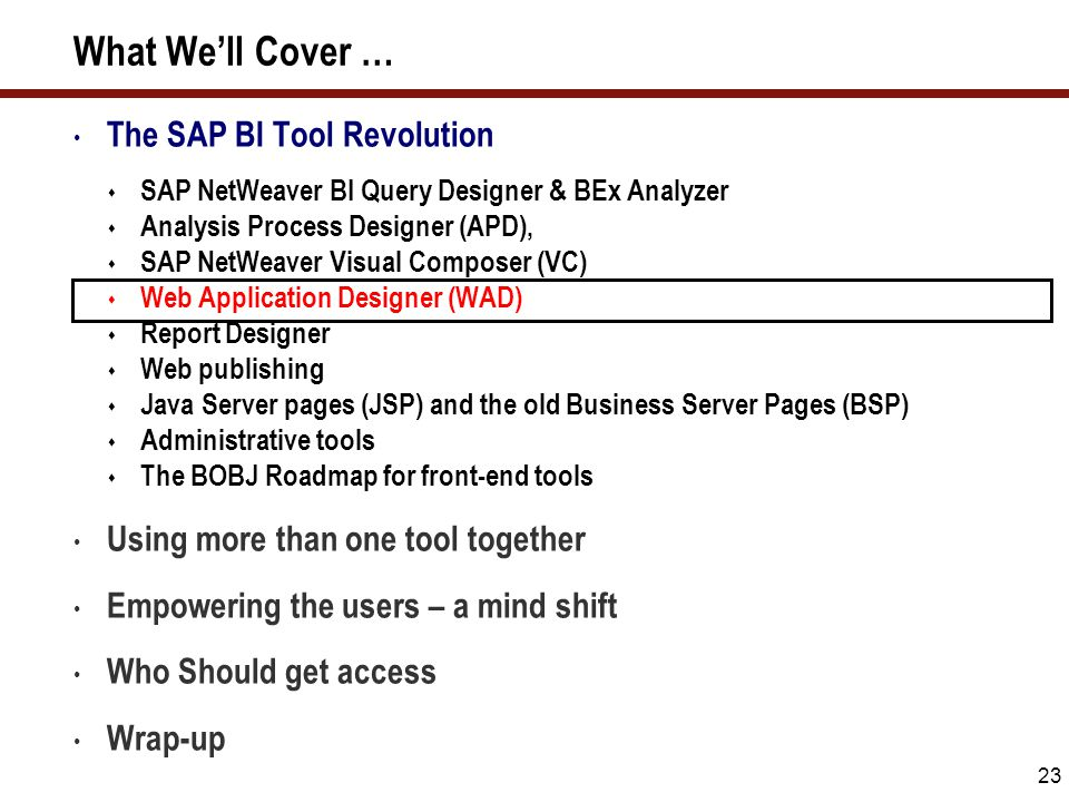 23 What We'll Cover … The SAP BI Tool Revolution  SAP NetWeaver BI Query Designer & BEx Analyzer  Analysis Process Designer (APD),  SAP NetWeaver V