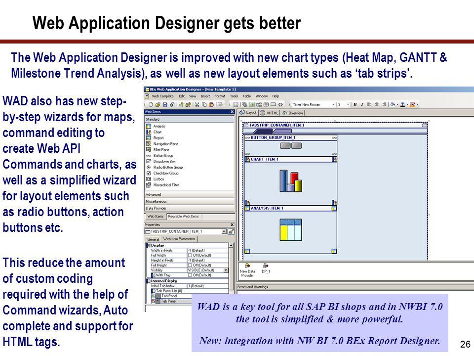 26 Web Application Designer gets better The Web Application Designer is improved with new chart types (Heat Map, GANTT & Milestone Trend Analysis), as