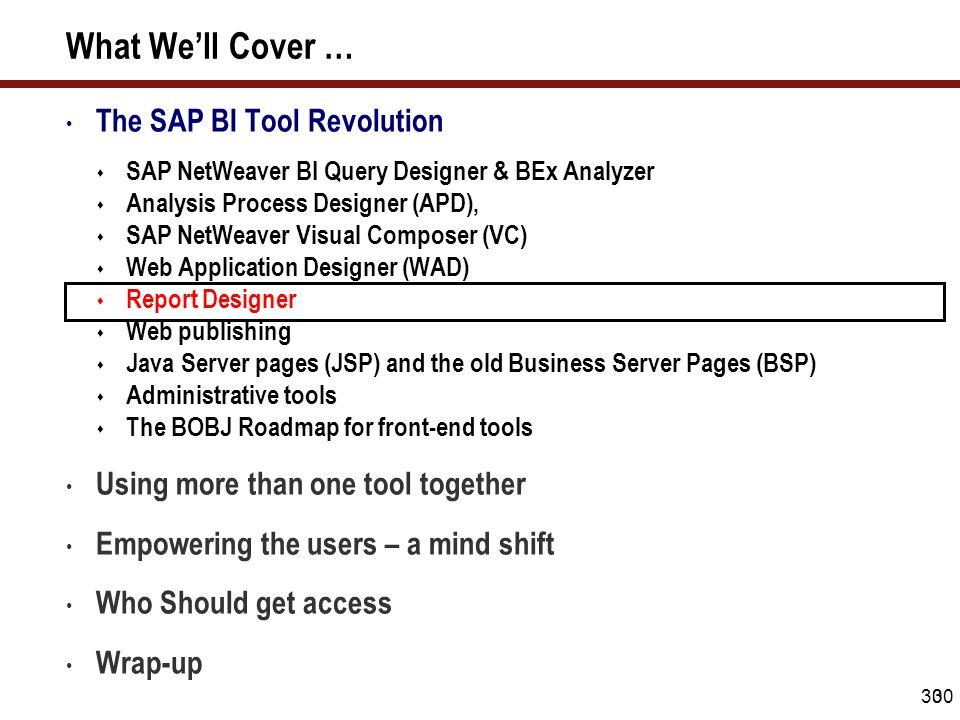 30 What We'll Cover … The SAP BI Tool Revolution  SAP NetWeaver BI Query Designer & BEx Analyzer  Analysis Process Designer (APD),  SAP NetWeaver V