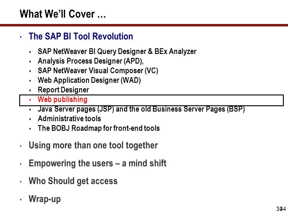 34 What We'll Cover … The SAP BI Tool Revolution  SAP NetWeaver BI Query Designer & BEx Analyzer  Analysis Process Designer (APD),  SAP NetWeaver V