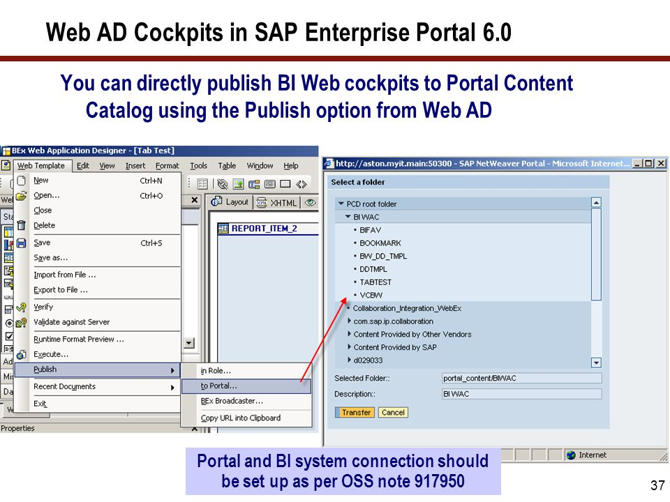 37 Web AD Cockpits in SAP Enterprise Portal 6.0 You can directly publish BI Web cockpits to Portal Content Catalog using the Publish option from Web A