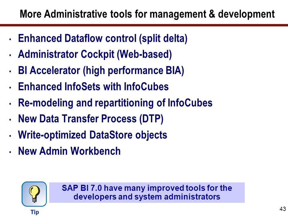 43 More Administrative tools for management & development Enhanced Dataflow control (split delta) Administrator Cockpit (Web-based) BI Accelerator (hi