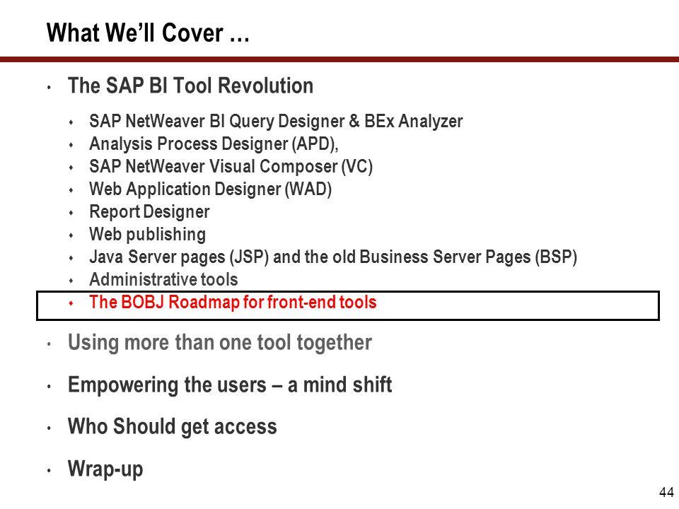 44 What We'll Cover … The SAP BI Tool Revolution  SAP NetWeaver BI Query Designer & BEx Analyzer  Analysis Process Designer (APD),  SAP NetWeaver V