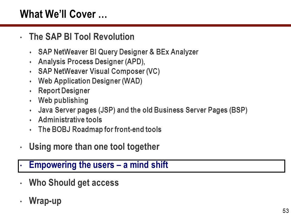 53 What We'll Cover … The SAP BI Tool Revolution  SAP NetWeaver BI Query Designer & BEx Analyzer  Analysis Process Designer (APD),  SAP NetWeaver V