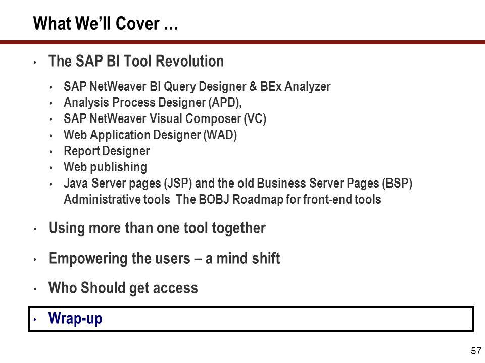 57 What We'll Cover … The SAP BI Tool Revolution  SAP NetWeaver BI Query Designer & BEx Analyzer  Analysis Process Designer (APD),  SAP NetWeaver V