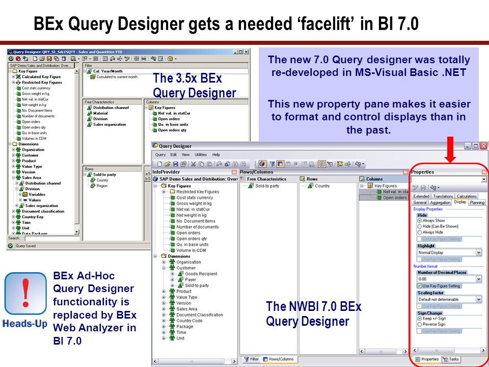 27 Some of SAP NetWeaver SAP BI 7.0 Web AD New Features  Web Items: Tab Pages, Button, Script Item (SAP NetWeaver BI 7.0 Support Package Stack 7)  Drag and drop using Analysis item  New chart types (heat map, Gantt, milestone trend analysis)  Export BI Web applications in PDF format  Command Wizard for generating Web API commands  Integration with SAP NetWeaver BI 7.0 BEx Report Designer for formatted reports User can change the XHTML source code of any web template either directly, or the ABAP program RS_TEMPLATE_MAINTAIN_70, or in any external XHTML editor.