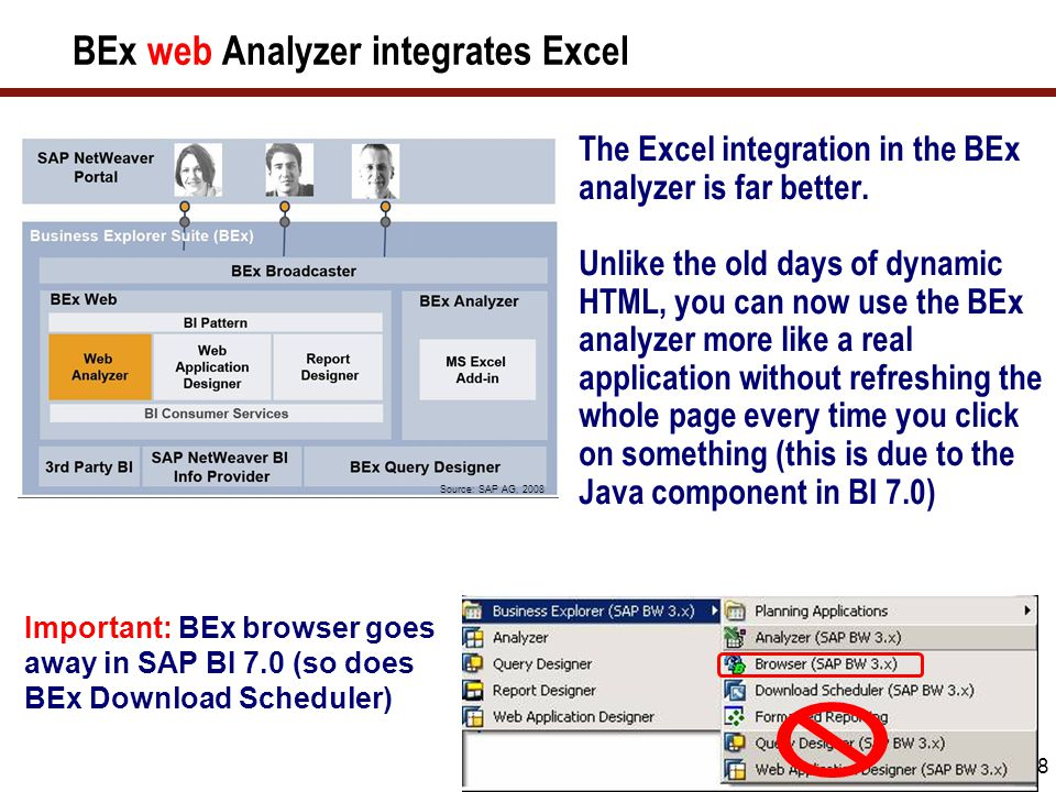 49 The Move towards Pioneer Pioneer (code name for 2009 release) provides a superset of the capabilities in BEx Analyzer (Excel), BEx Analyzer (Web), and Business Objects Voyager.