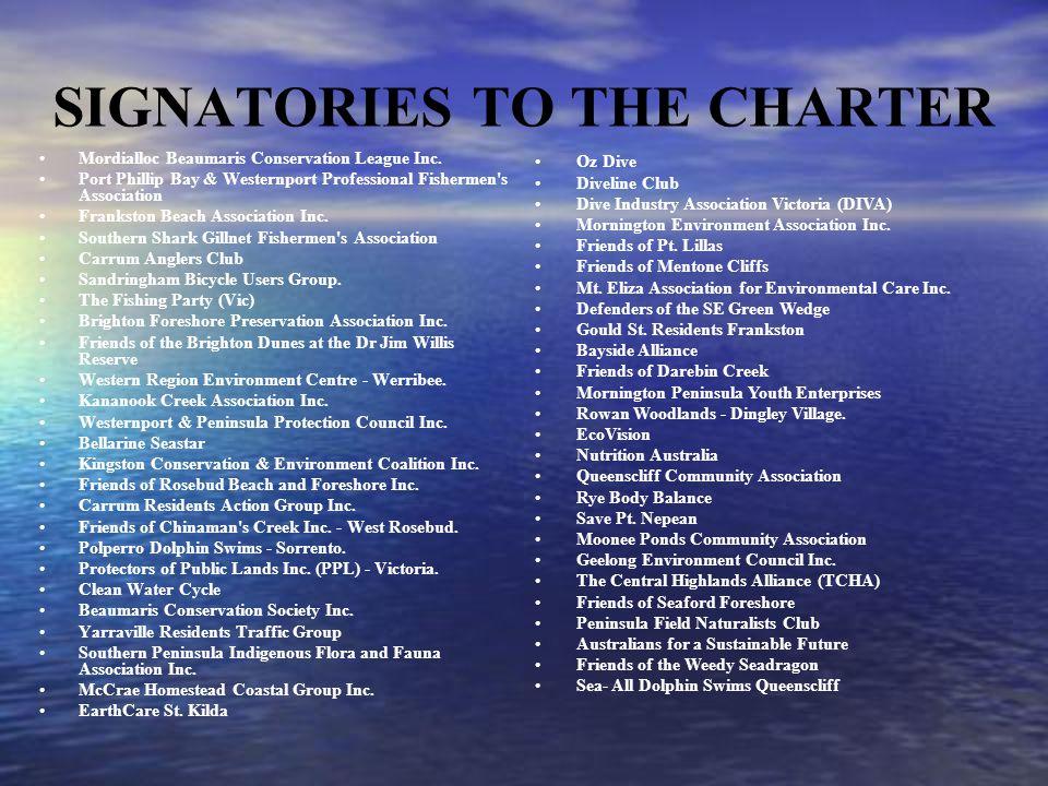 SIGNATORIES TO THE CHARTER Mordialloc Beaumaris Conservation League Inc.