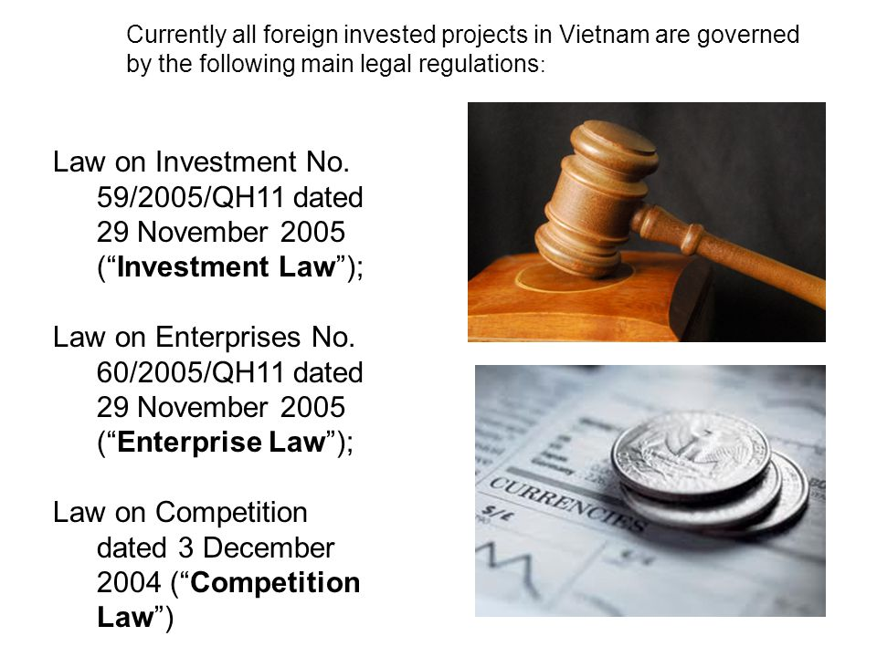 """Law on Investment No. 59/2005/QH11 dated 29 November 2005 (""""Investment Law""""); Law on Enterprises No. 60/2005/QH11 dated 29 November 2005 (""""Enterprise"""
