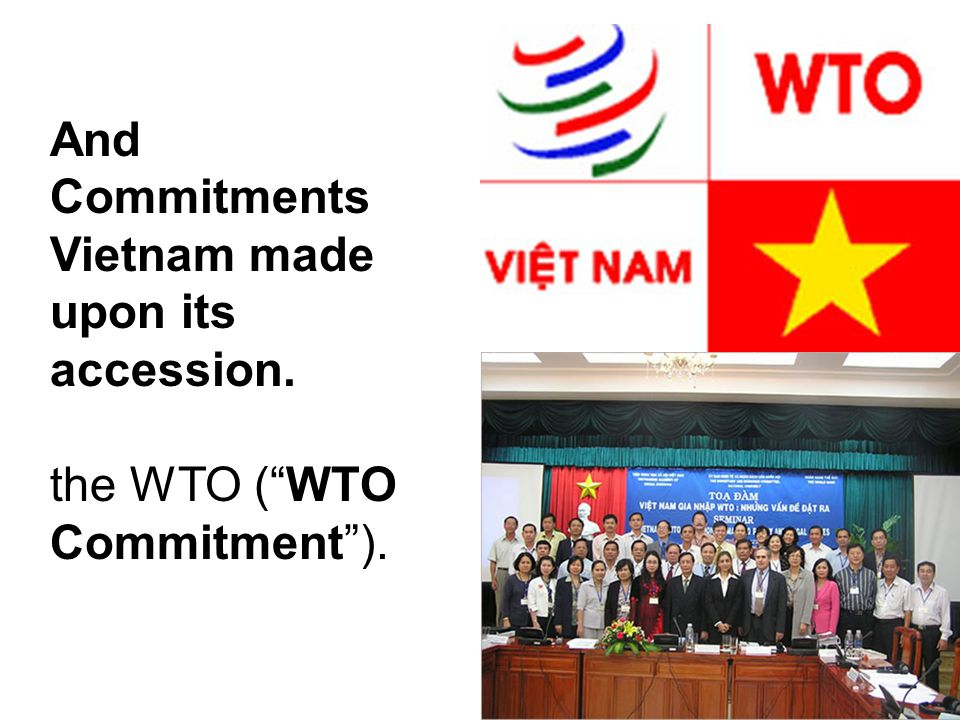 """And Commitments Vietnam made upon its accession. the WTO (""""WTO Commitment"""")."""