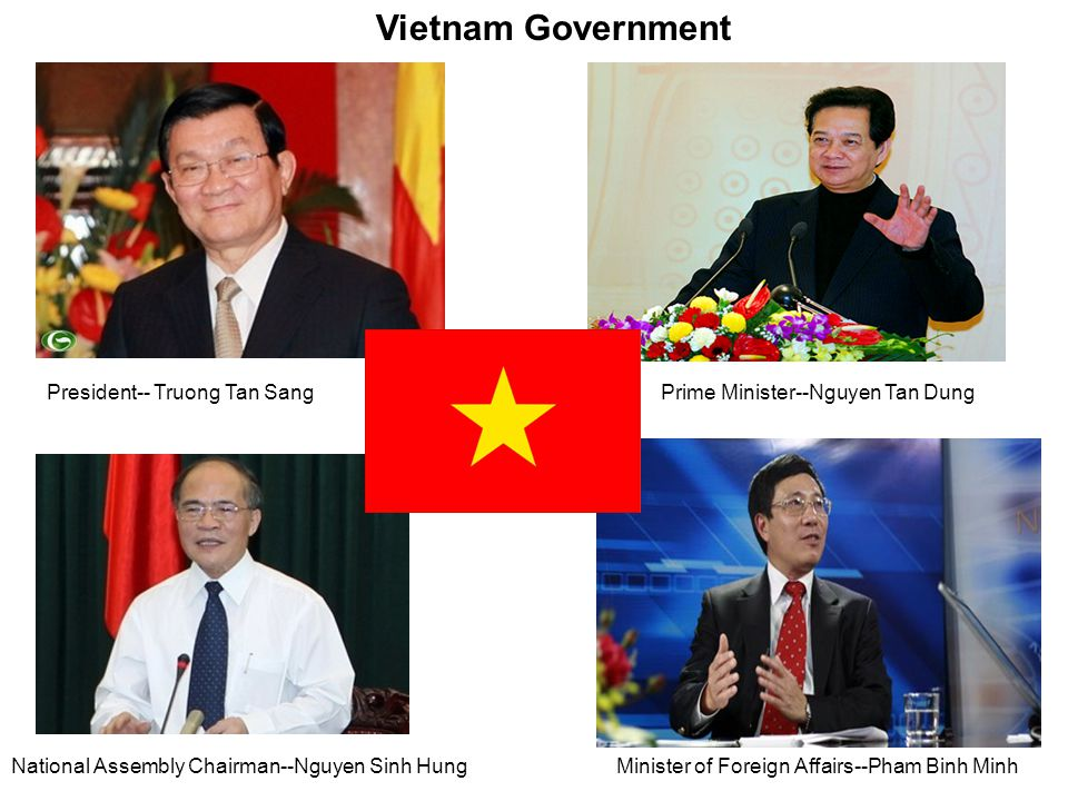 Vietnam Government President-- Truong Tan SangPrime Minister--Nguyen Tan Dung National Assembly Chairman--Nguyen Sinh HungMinister of Foreign Affairs--Pham Binh Minh