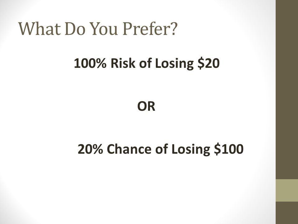 What Do You Prefer? 100% Risk of Losing $20 OR 20% Chance of Losing $100