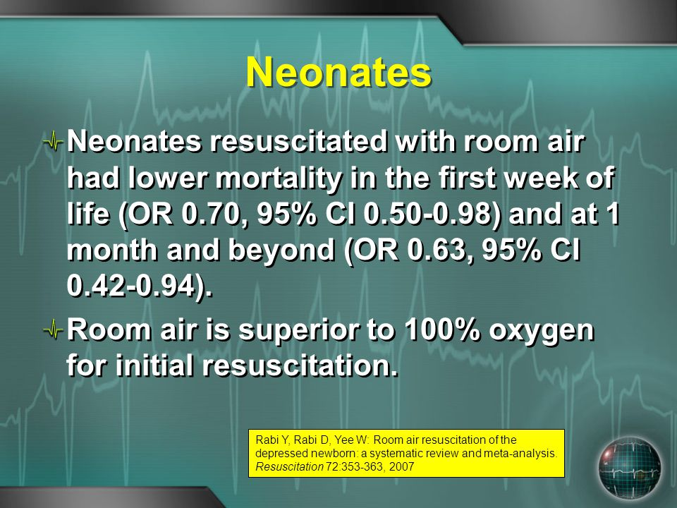 Neonates Neonates resuscitated with room air had lower mortality in the first week of life (OR 0.70, 95% CI 0.50-0.98) and at 1 month and beyond (OR 0