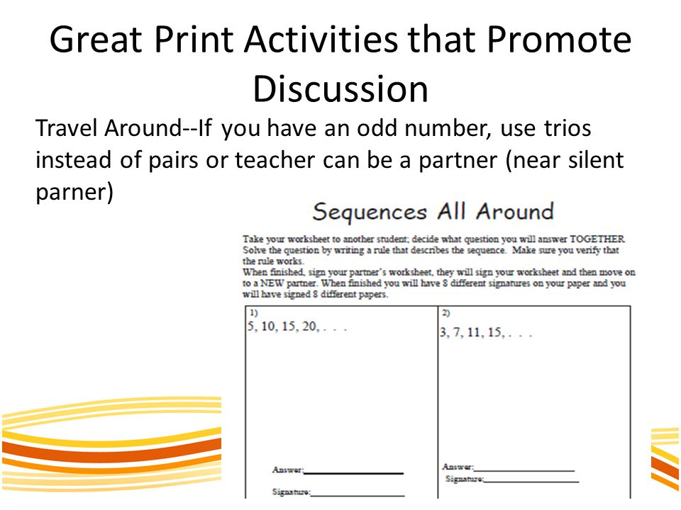 Great Print Activities that Promote Discussion Travel Around--If you have an odd number, use trios instead of pairs or teacher can be a partner (near silent parner)