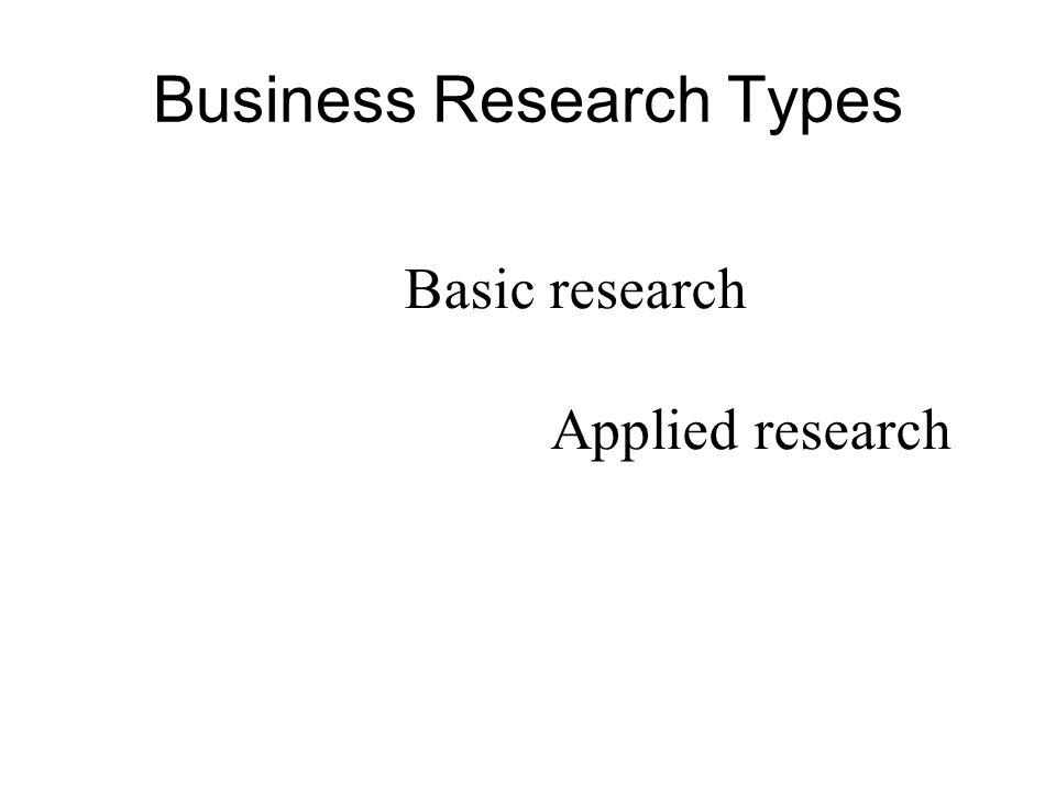 Basic research Applied research Business Research Types