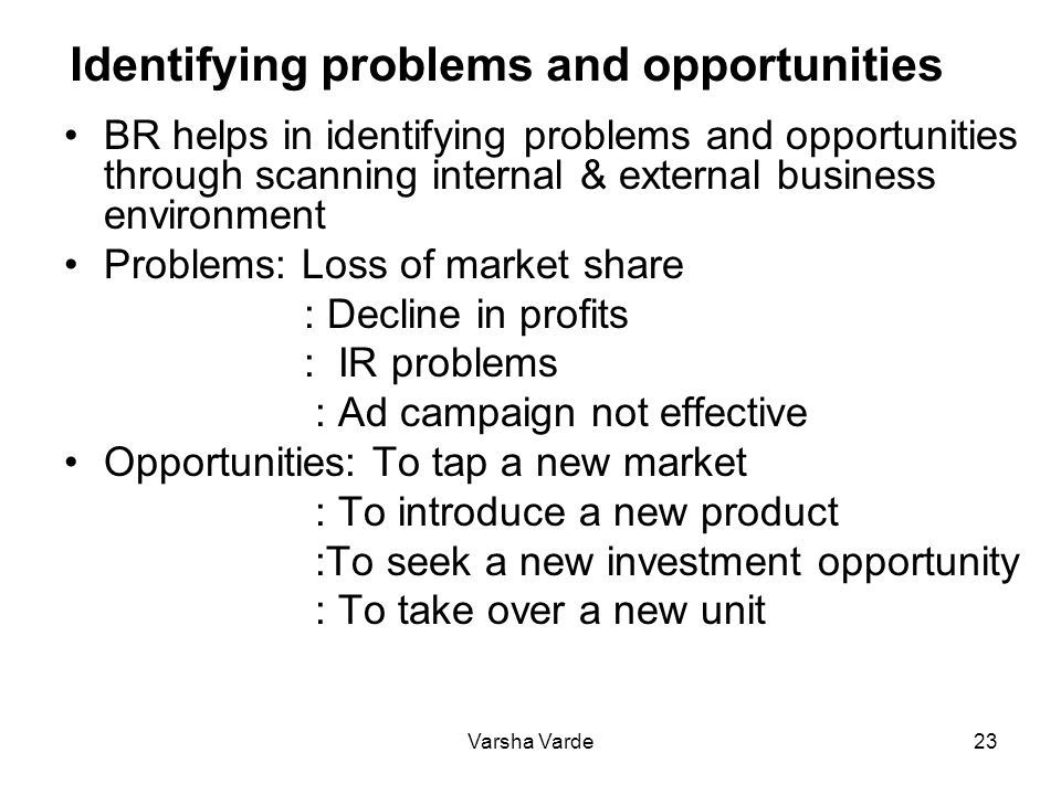 Varsha Varde23 Identifying problems and opportunities BR helps in identifying problems and opportunities through scanning internal & external business