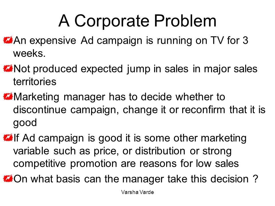 A Corporate Problem  An expensive Ad campaign is running on TV for 3 weeks.