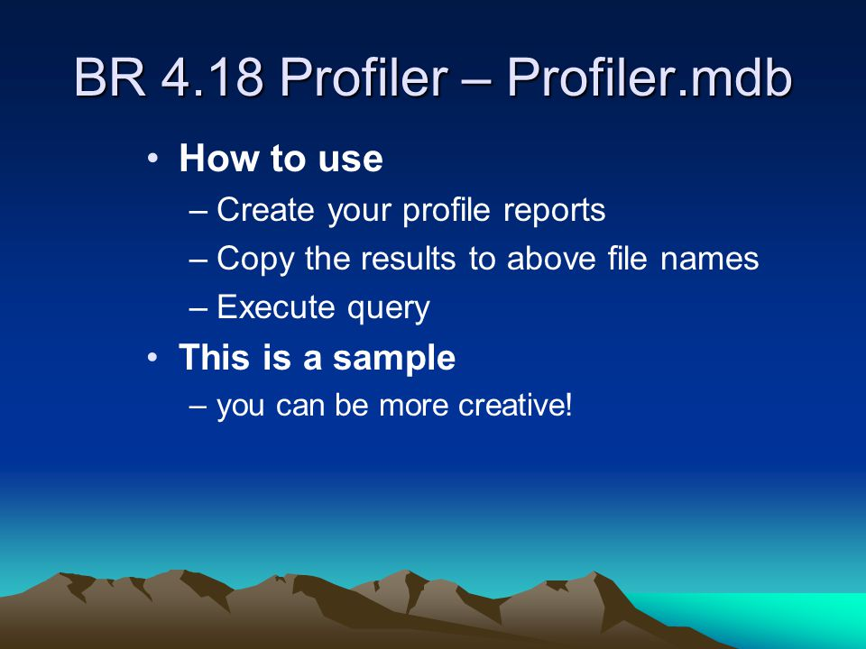 BR 4.18 Profiler – Profiler.mdb How to use –Create your profile reports –Copy the results to above file names –Execute query This is a sample –you can be more creative!