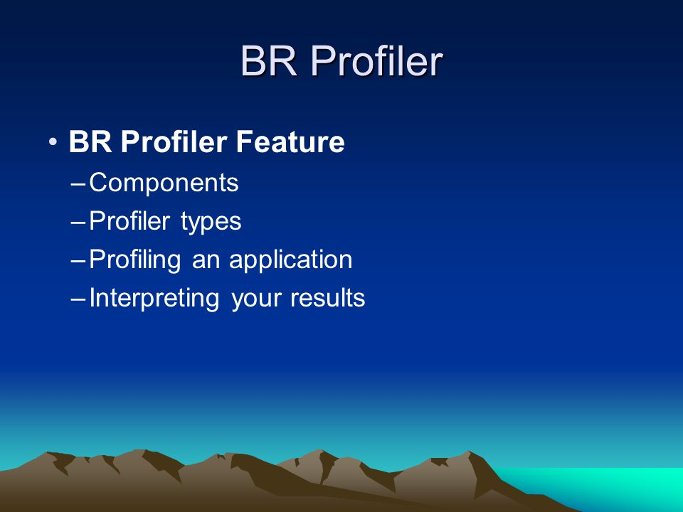BR Profiler BR Profiler Feature –Components –Profiler types –Profiling an application –Interpreting your results