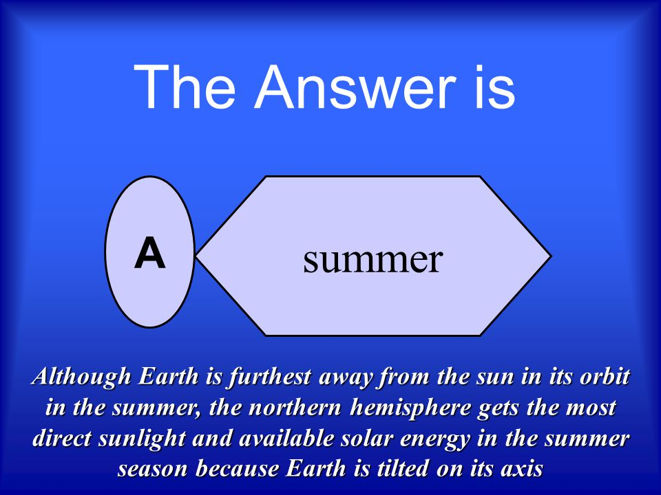 During which season are the sun's rays the most direct in the northern hemisphere? summer fall winter spring A B C D Who Wants To Be A Scientist ? Nex